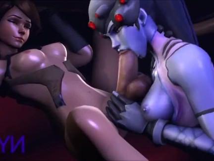 Травести Порно Вдоводел из Overwatch отсасывает толстый елдометр Ледибой Трейсер секс видео
